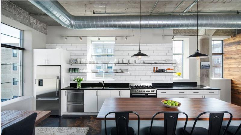 Потолок на кухне в стиле лофт 1