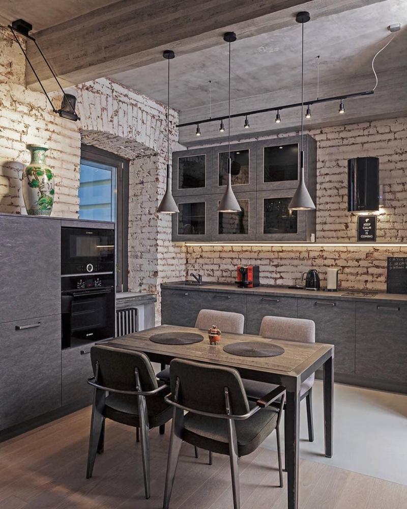 Потолок на кухне в стиле лофт 2