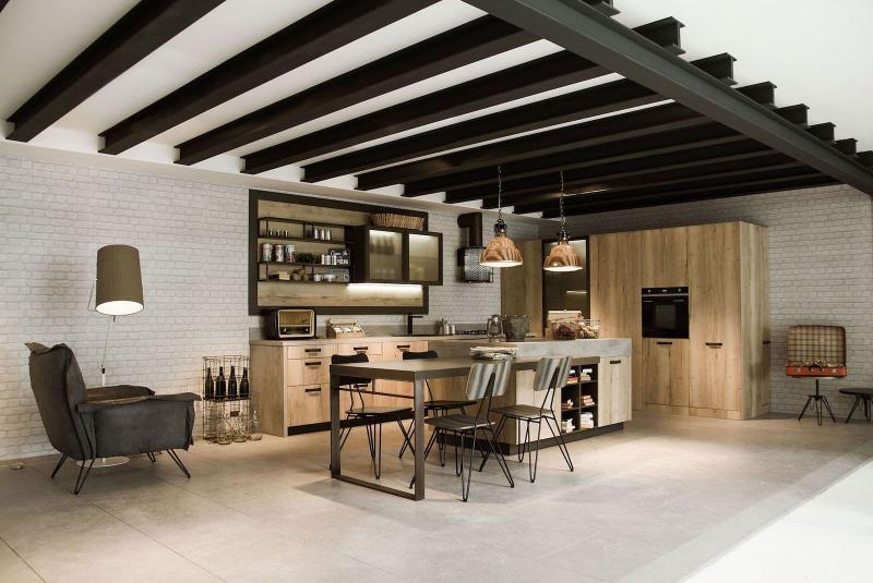 Потолок на кухне в стиле лофт 3