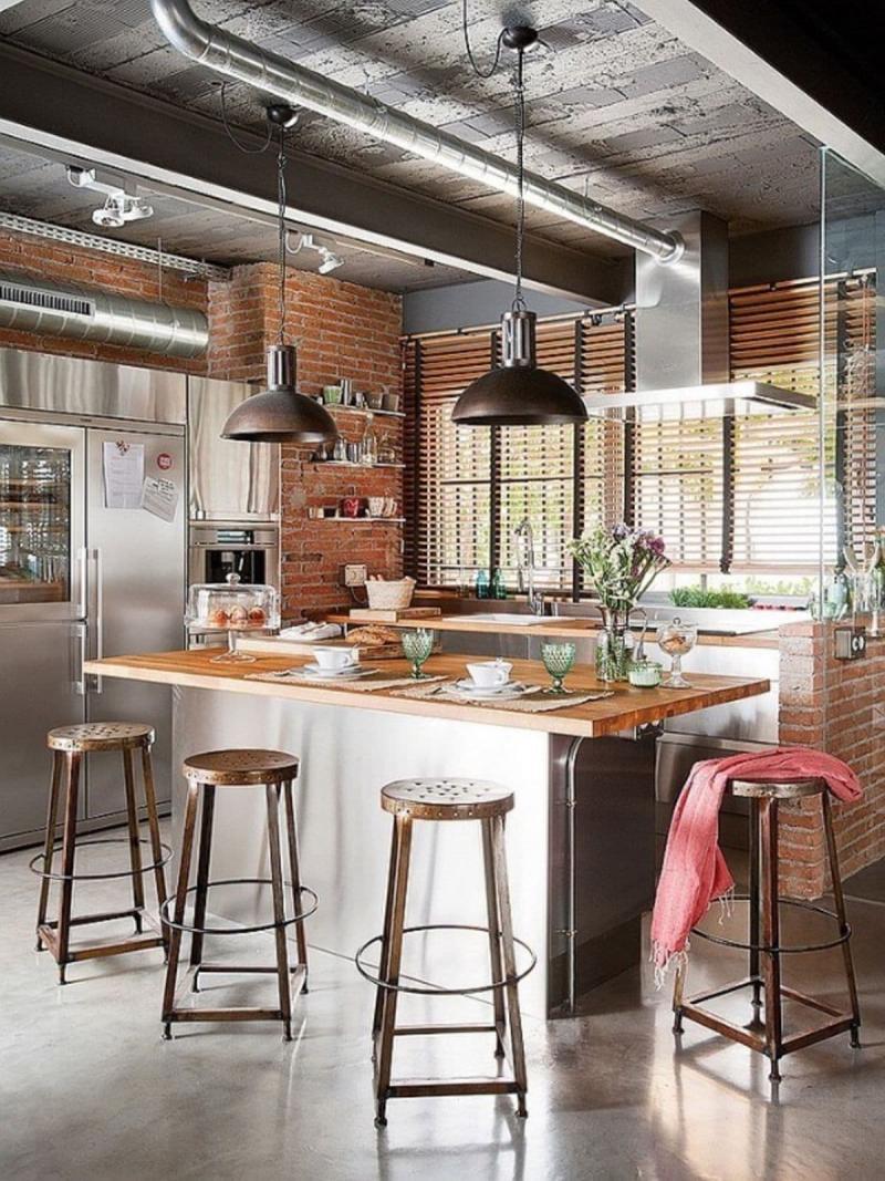 Потолок на кухне в стиле лофт 4