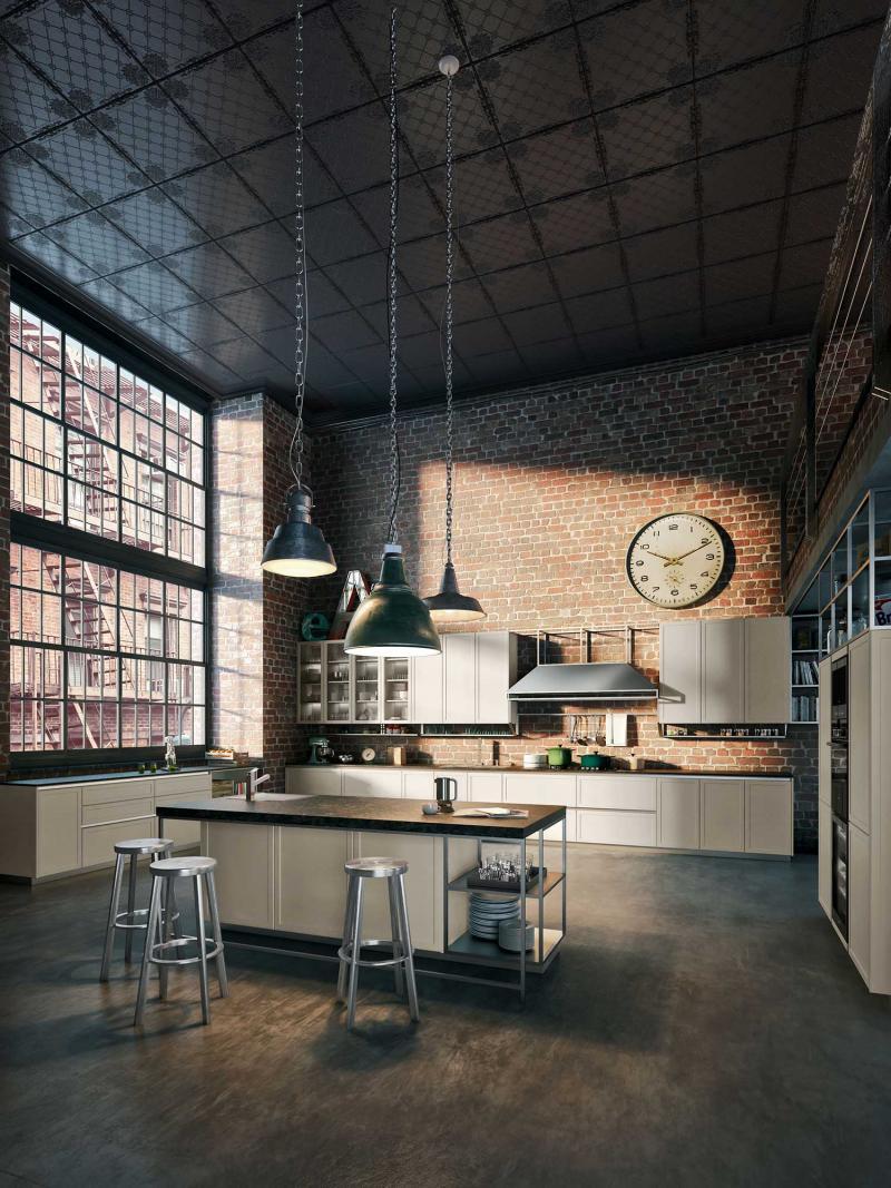 Потолок на кухне в стиле лофт 5