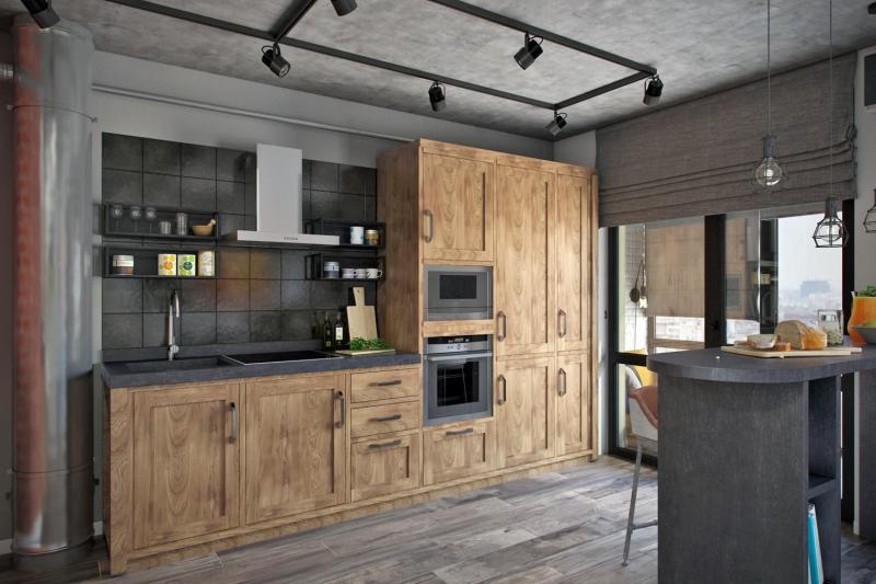 Шторы для кухни в стиле лофт 1