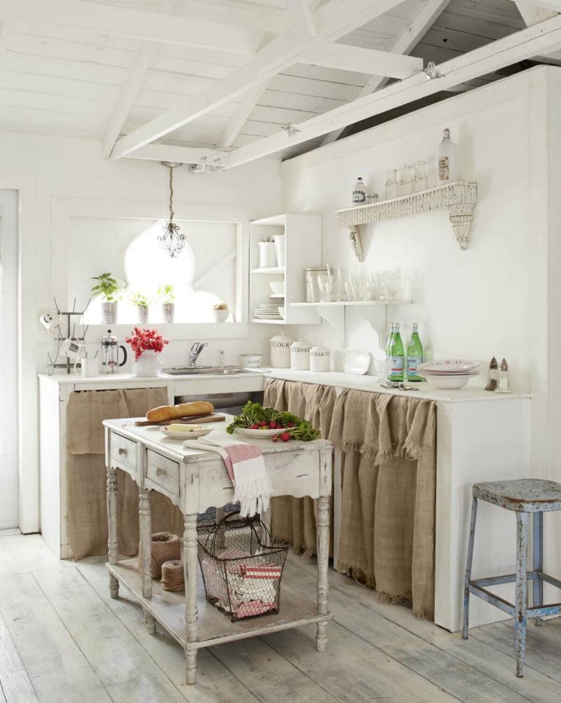Материал для штор на кухню 2019 мешковина 1
