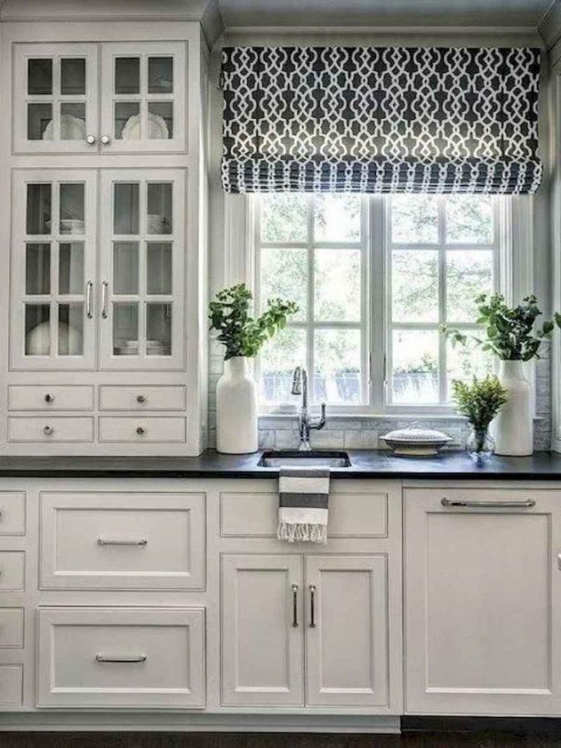 Принт на шторах для кухни 2019 черно-белый 3