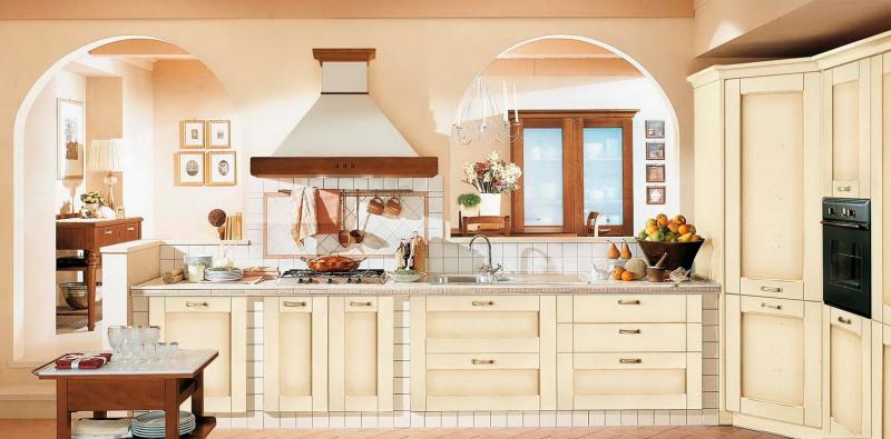 Кухня в стиле прованс бежевая 1