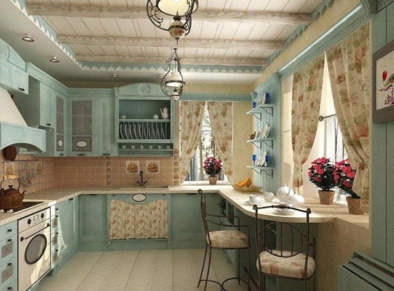 Кухня в стиле прованс голубая 1
