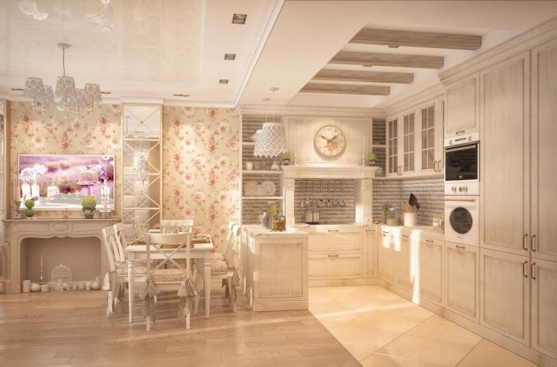 Кухня в стиле прованс персиковая 1