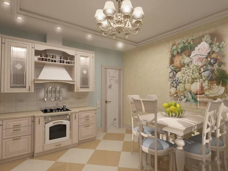 Оформление стен в кухне в стиле прованс 7