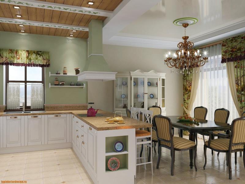 Планировка кухни в стиле прованс 3