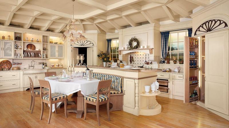 Потолок для кухни в стиле прованс 2