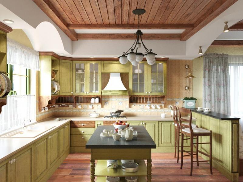 Потолок для кухни в стиле прованс 5