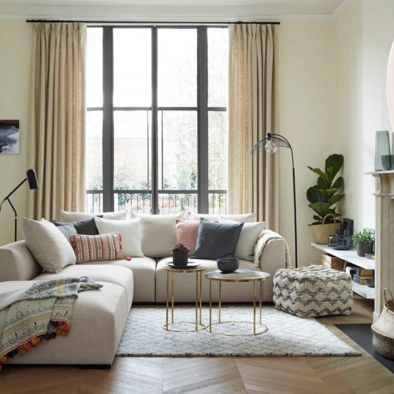 Модели штор в гостиную 2019 в пол 6