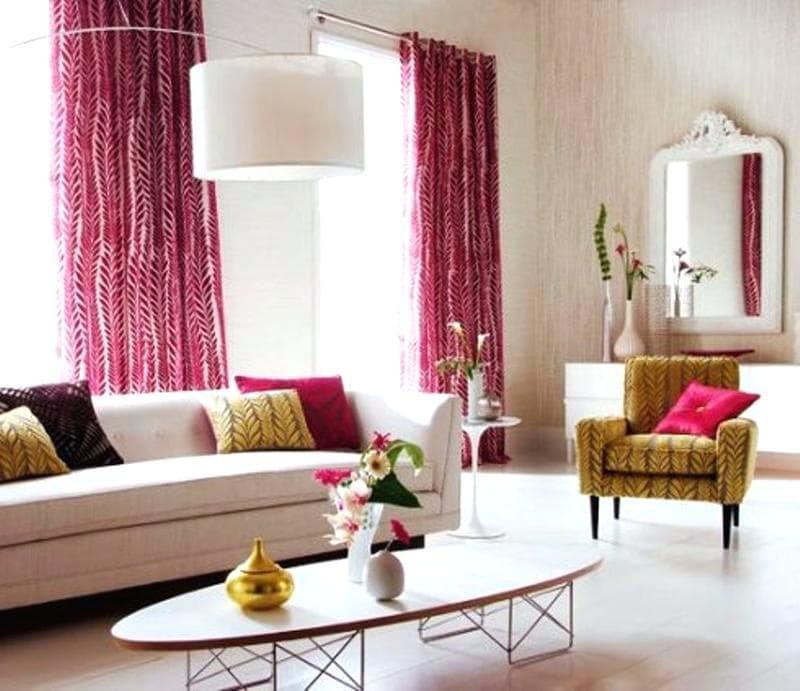 Тренды для штор в гостиную 2019 яркий цвет 3