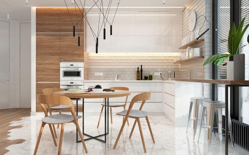 Пол на кухне в скандинавском стиле 3