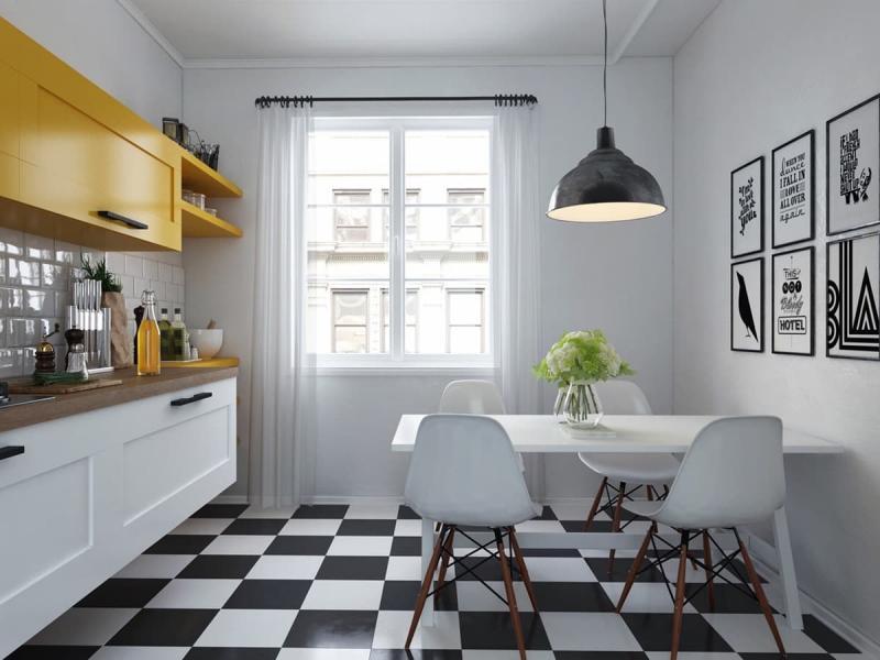 Шторы на кухне в скандинавсом стиле 3