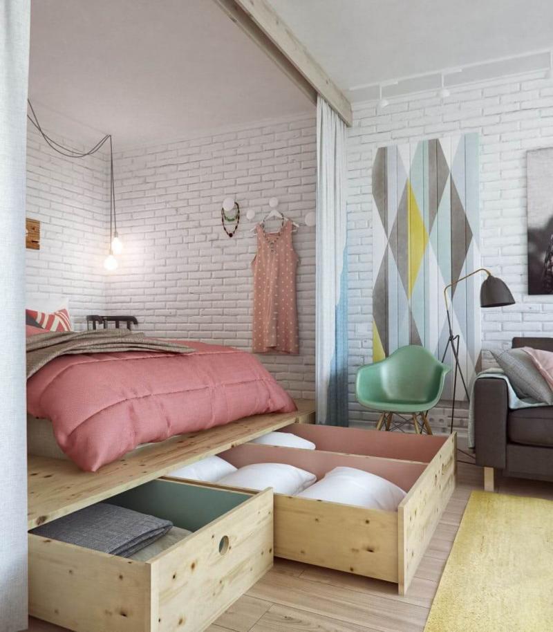 Система хранения в маленькой спальне 2