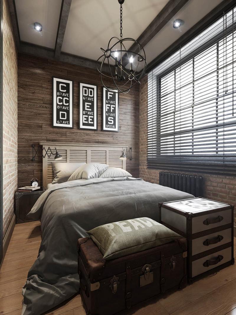 Стиль для маленькой спальни лофт 1