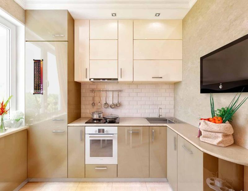 Цвет для кухни 9 кв. м бежевый 1
