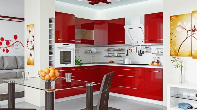 Цвет для кухни 9 кв. м красный 1