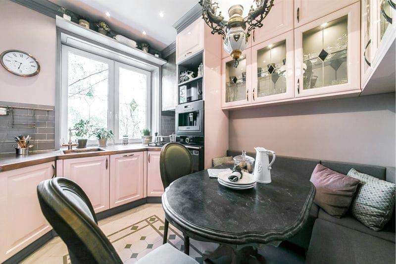 Цвет для кухни 9 кв. м розовый 1