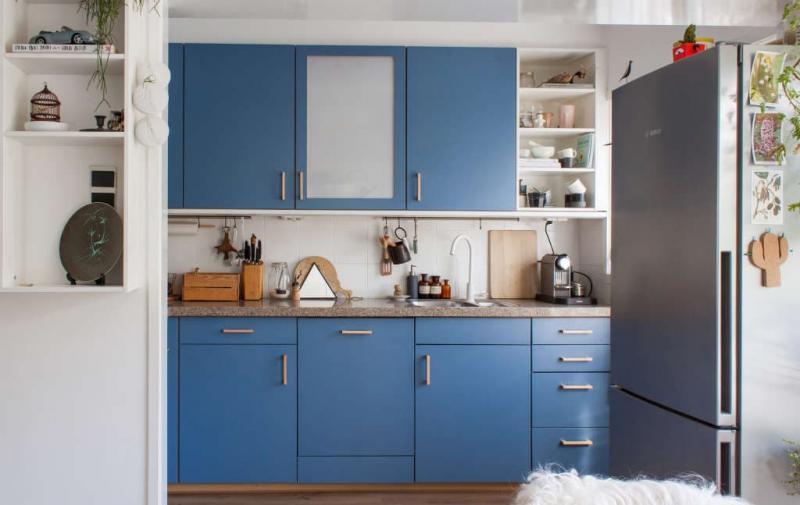 Цвет для кухни 9 кв. м синий 1