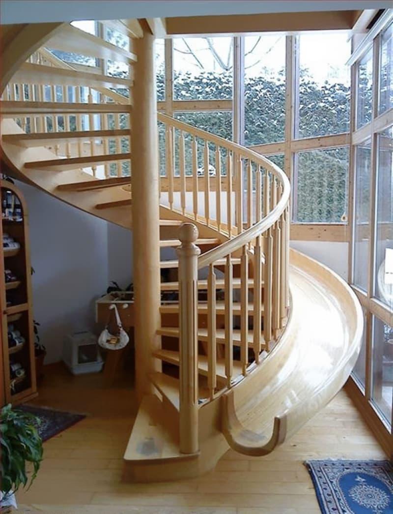 Креативный дизай лестницы на второй этаж 10