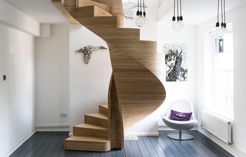 Креативный дизай лестницы на второй этаж 4