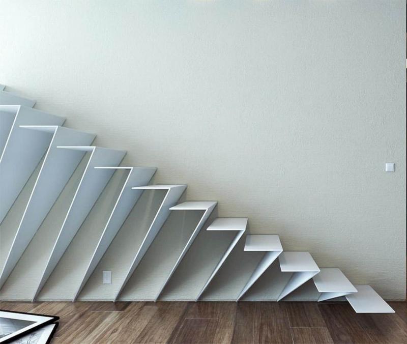 Креативный дизай лестницы на второй этаж 9