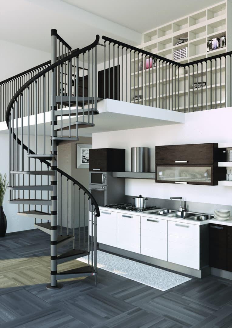 Металлическая лестница на второй этаж 3