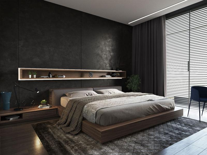 Цвет спальни в современном стиле (черный) 1