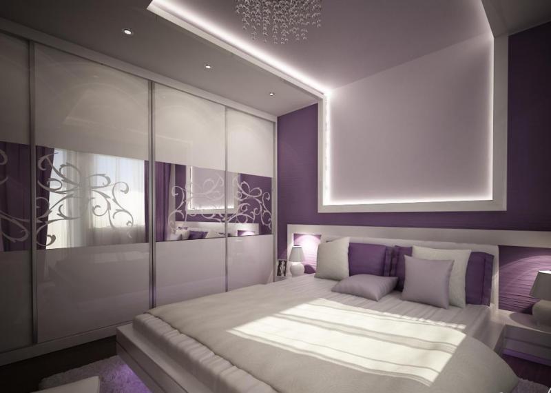 Цвет спальни в современном стиле (фиолетовый) 1
