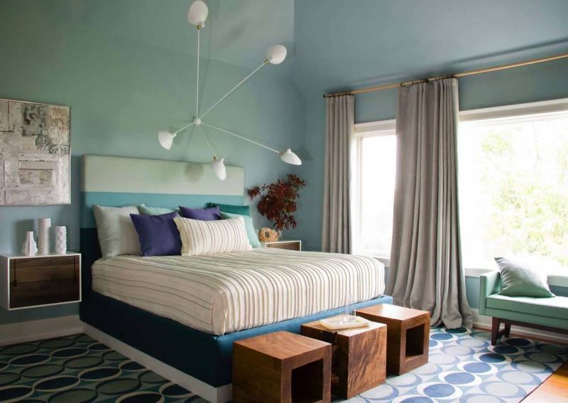 Цвет спальни в современном стиле (голубой) 1