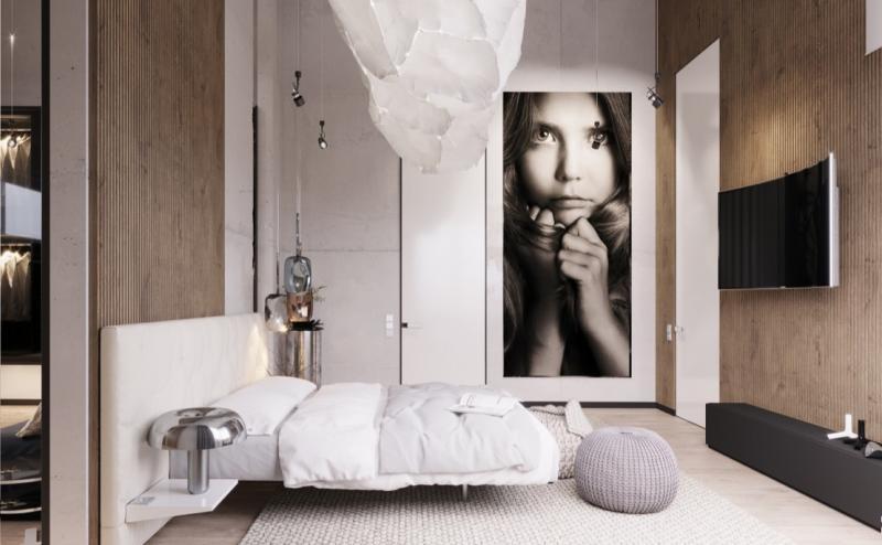 Фотообои в спальне в современном стиле 1