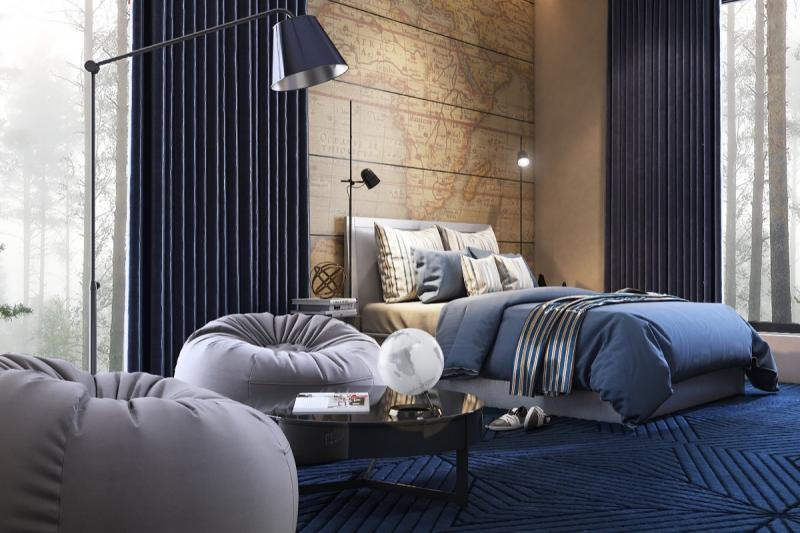 Фотообои в спальне в современном стиле 2