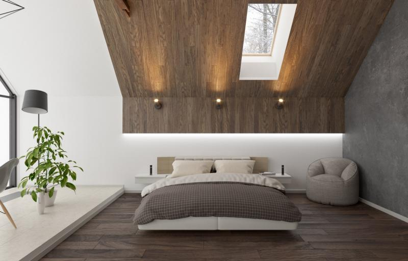 Потолок в спальне в современном стиле 2