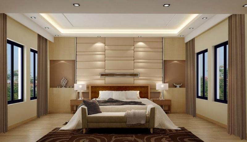 Потолок в спальне в современном стиле 4