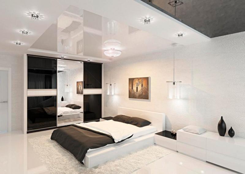 Потолок в спальне в современном стиле 5