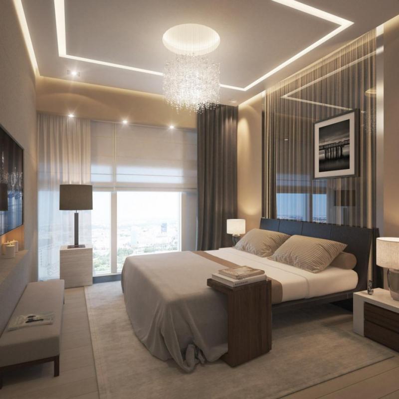 Потолок в спальне в современном стиле 6