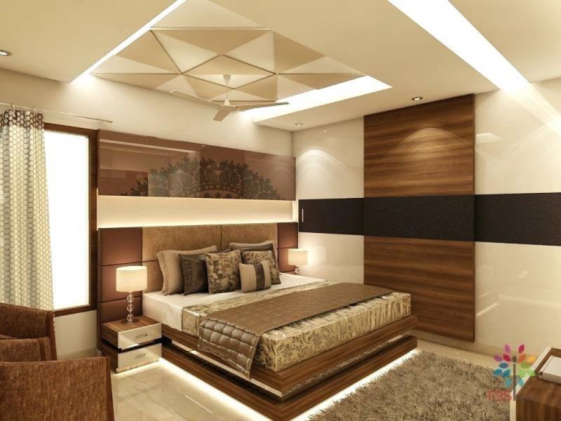 Потолок в спальне в современном стиле 7