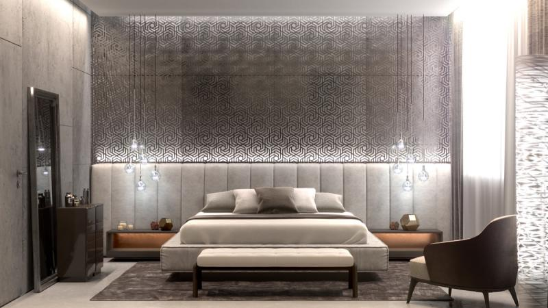 Стены в спальне в современном стиле 1