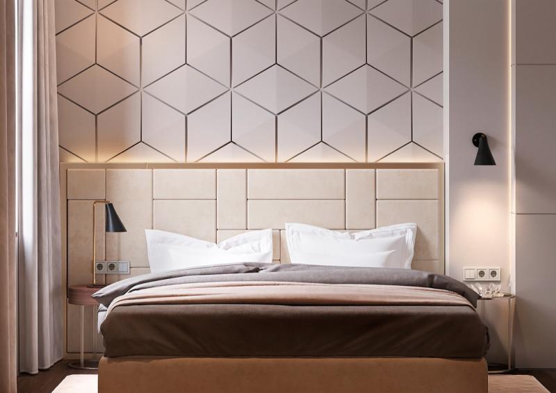 Стены в спальне в современном стиле 2
