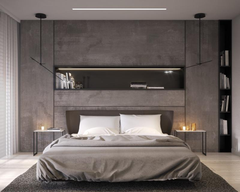 Стены в спальне в современном стиле 4