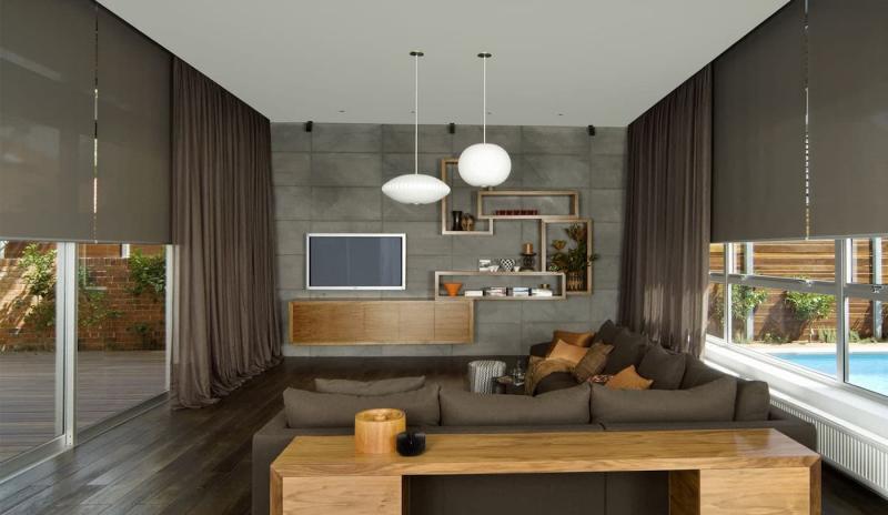Рулонные шторы в интерьере гостиной 2