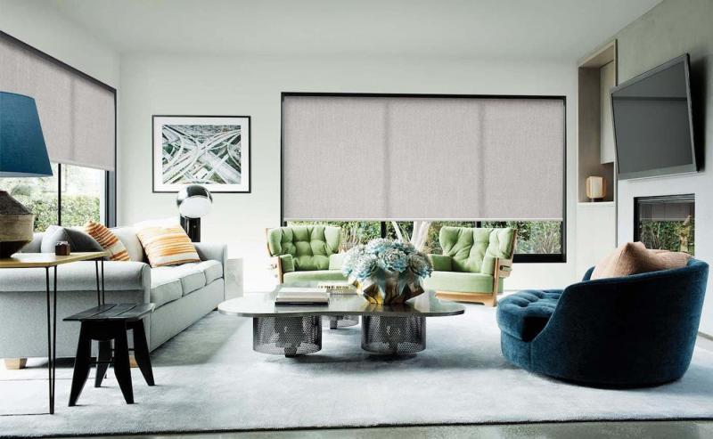 Рулонные шторы в интерьере гостиной 4