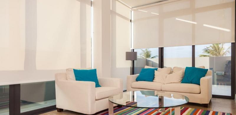 Рулонные шторы в интерьере гостиной 5