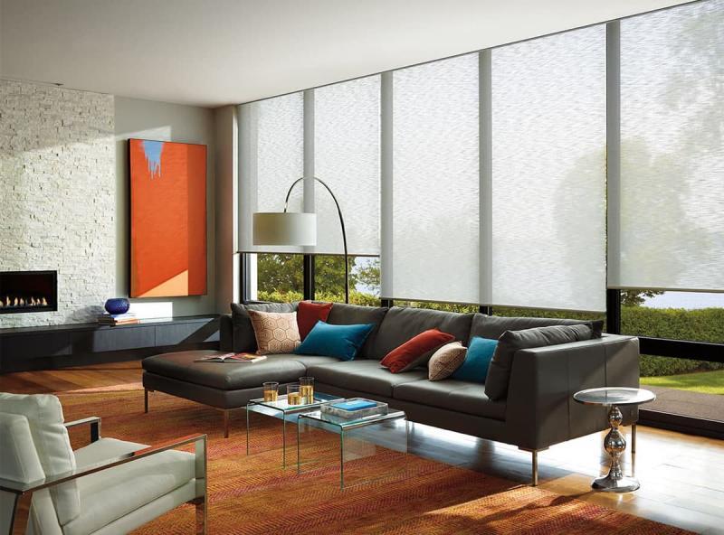Рулонные шторы в интерьере гостиной 6