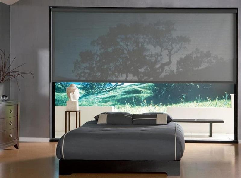 Рулонные шторы в интерьере спальни 4