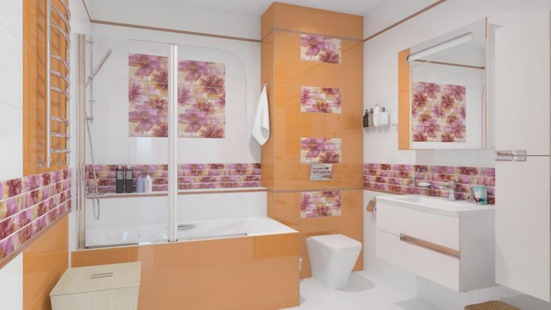 Интерьер ванны в оранжевых тонах