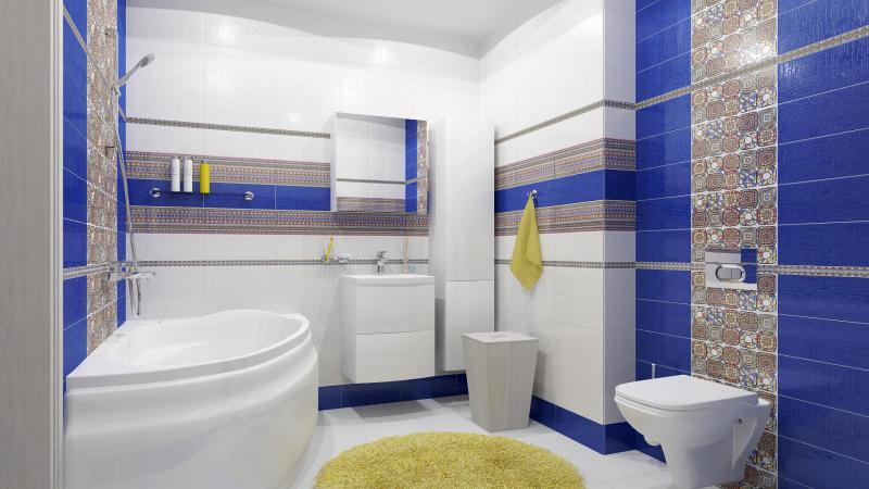 Интерьер ванны в синих тонах