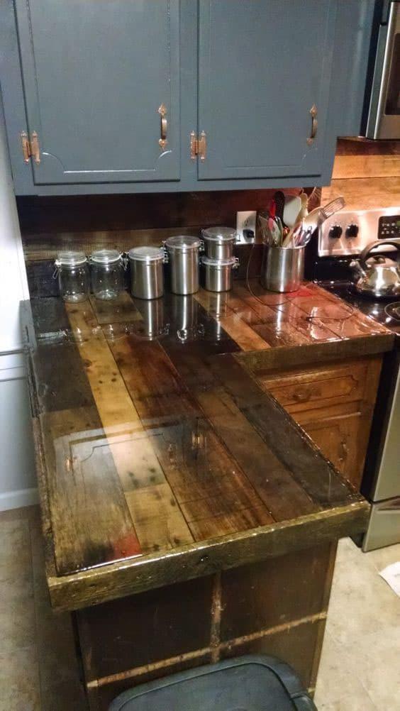 Фартук для кухни из дерева 7